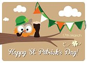 irish owl with pipe, a dark beer and bunting flags