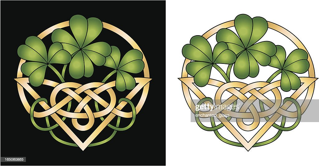 Irish Shamrockceltic Knot 4 Leaf Clover Good Luck Design Vector Art