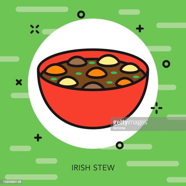 irish stew thin line icon - beef stew stock illustrations, clip art, cartoons, & icons