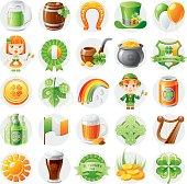 Irish traditional symbols icon set for St. Patrick's day