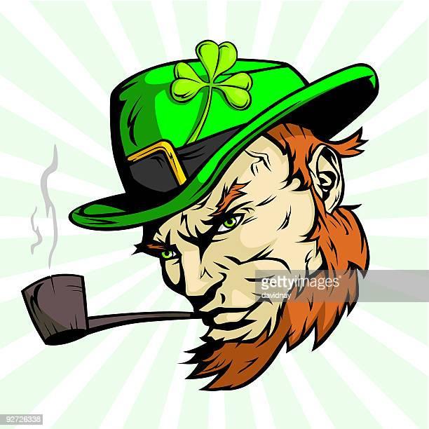 irishman floating head - pipe smoking pipe stock illustrations, clip art, cartoons, & icons