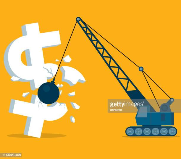 iron ball smashed dollar symbol - defeat stock illustrations