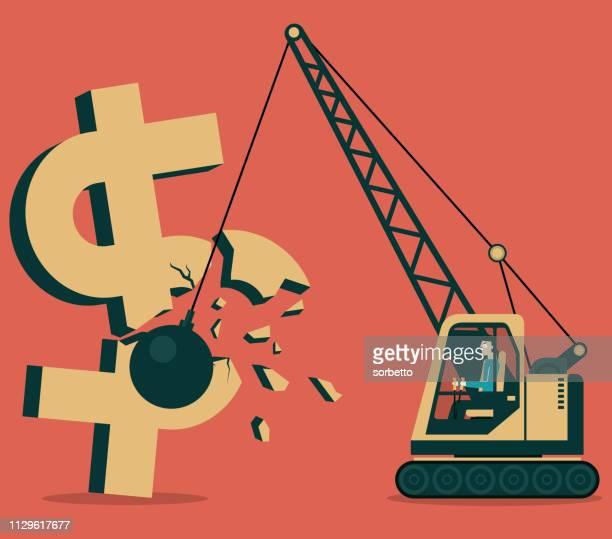 iron ball smashed dollar - demolished stock illustrations