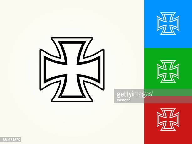 Iron Cross Black Stroke Linear Icon