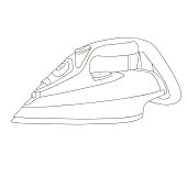 Iron for Ironing steam coloring page. Coloring book for children .Flatiron .Vector illustration.