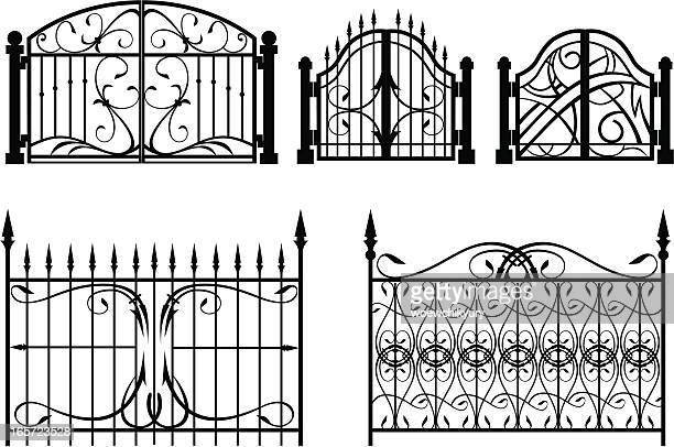 iron gate & fence - gothic style stock illustrations, clip art, cartoons, & icons