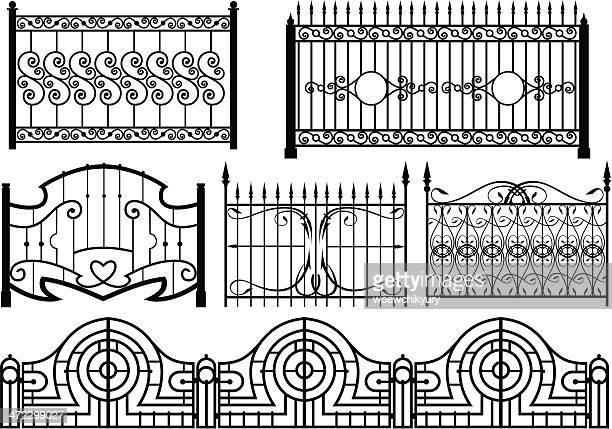 iron gate & zaun vektor - eisen stock-grafiken, -clipart, -cartoons und -symbole