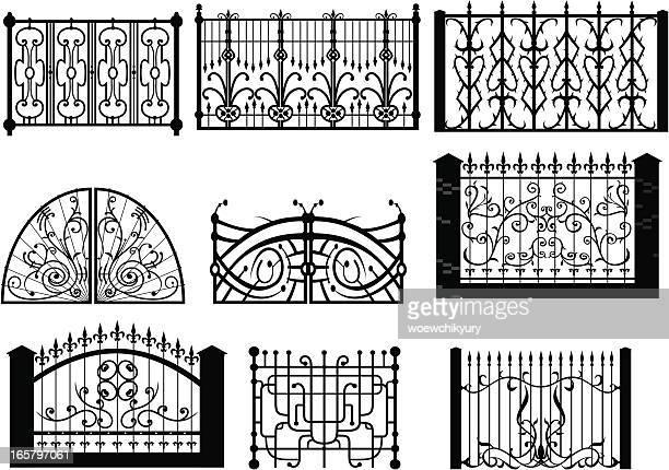 iron gate & fences2 - eisen stock-grafiken, -clipart, -cartoons und -symbole