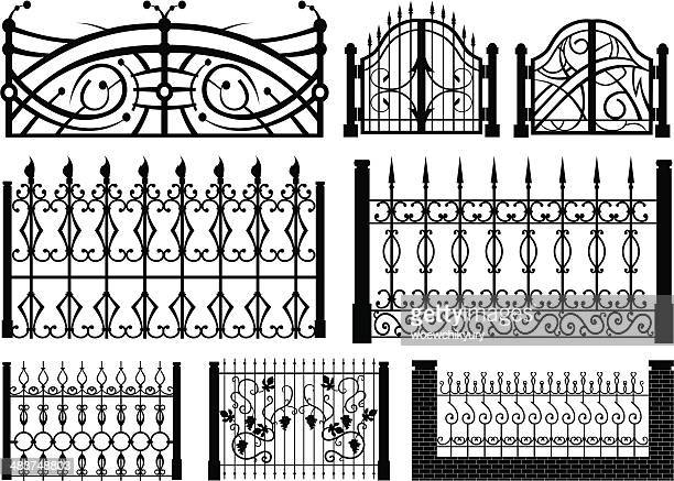 iron gate vector set - iron appliance stock illustrations, clip art, cartoons, & icons
