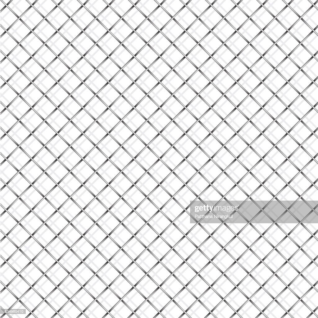 Iron wire mesh and shadow on white background vector illustration.