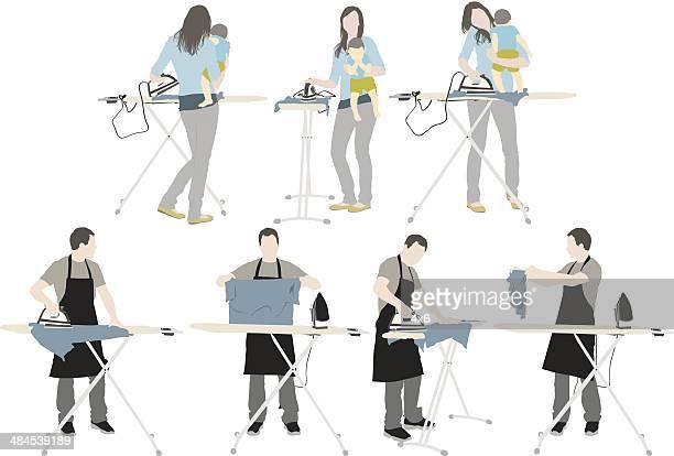 ilustraciones, imágenes clip art, dibujos animados e iconos de stock de tabla de planchar - encuadre de cuerpo entero