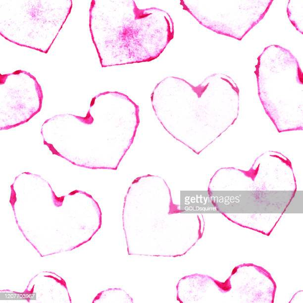 irregular heart shapes imprinted with a hand-made stamp on a white sheet of paper - abstract seamless love pattern design in shades of pink - stock illustration in vector - irregular texturizado stock illustrations