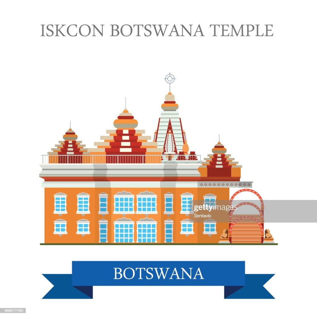 Iskcon Botswana Temple. Flat cartoon style historic sight showplace attraction web site vector illustration. World countries cities vacation travel sightseeing Africa collection.
