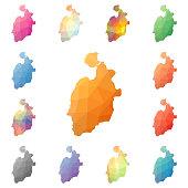 Isla de Providencia geometric polygonal, mosaic style island maps collection.