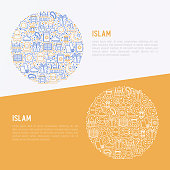 Islam concept in circle with thin line icons: mosque, carpet, rosary, prayer, koran, moslem. Modern vector illustration, template for web page.