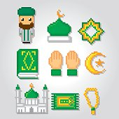 Islam icons set. Pixel art. Old school computer graphic style.