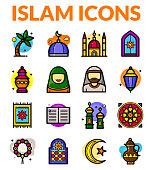 Islam icons set, vector illustration