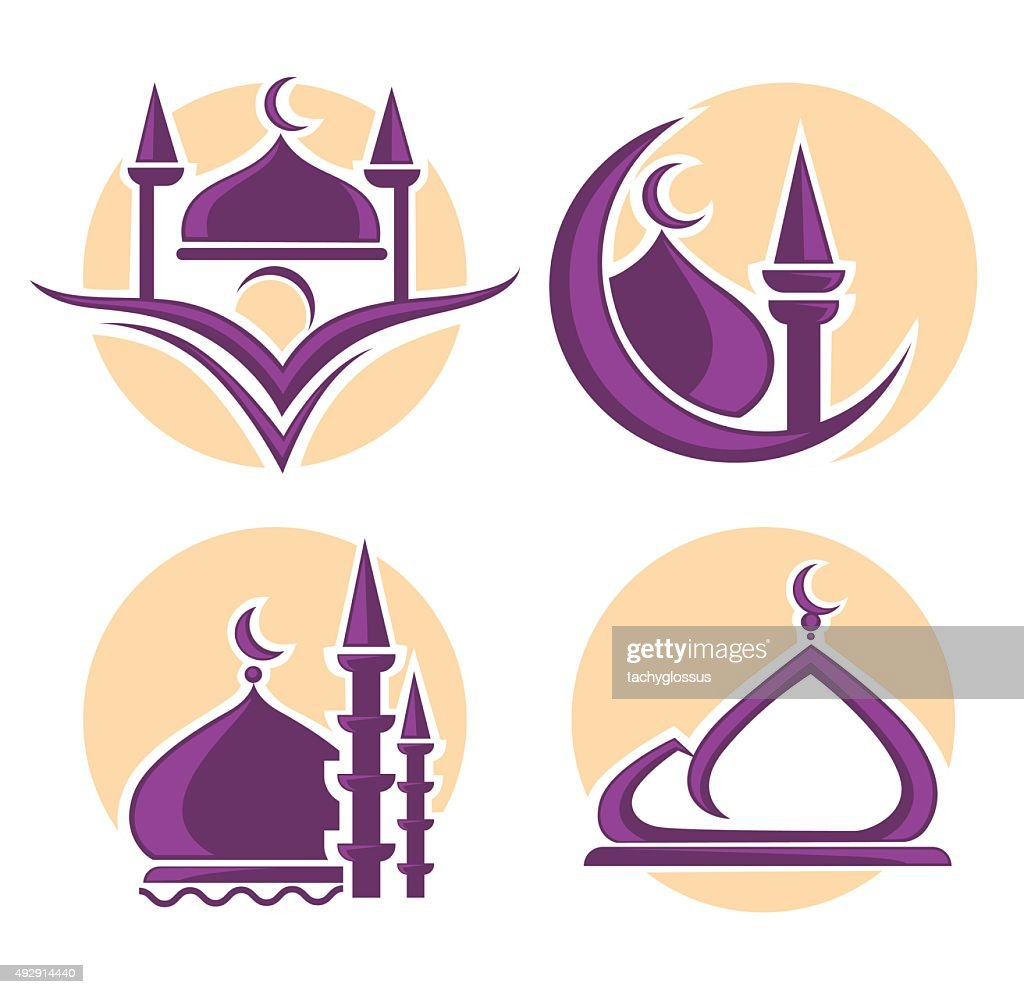 islam icons symbols vector collection