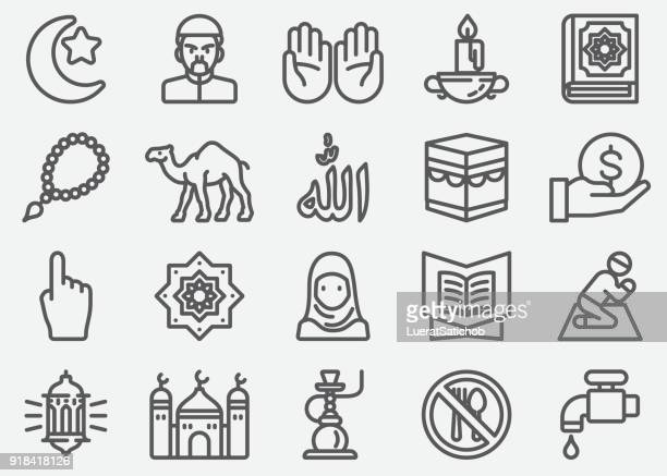 Islam Islamic Ramadan Arabian Religions Line Icons