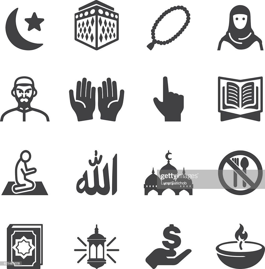 Islam Islamic Ramadan Arabian Religions Silhouette Icons | EPS10