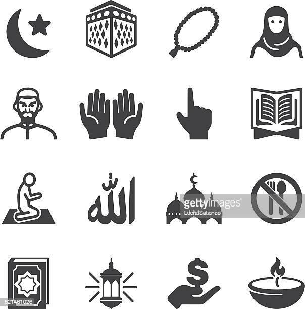 islam islamic ramadan arabian religions silhouette icons | eps10 - praying stock illustrations, clip art, cartoons, & icons