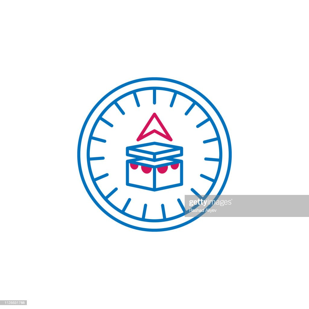 Islam, qibla compass 2 colored line icon. Simple blue and red element illustration. Islam, qibla compass concept outline symbol design from Islam set