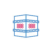 Islam, shrine  2 colored line icon. Simple blue and red element illustration. Islam, shrine  concept outline symbol design from Islam set