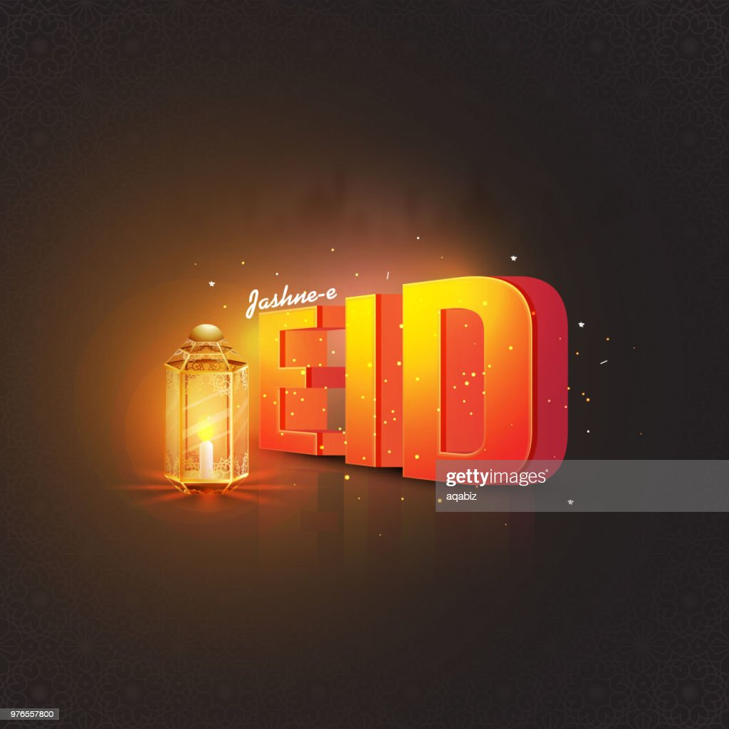 Islamic Blur background decorated with traditional illuminated lantern and glowing 3D text Jashn-E-Eid.