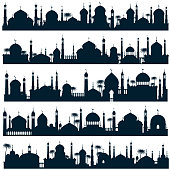 Islamic city skylines with mosque and minaret vector silhouettes arabic architecture