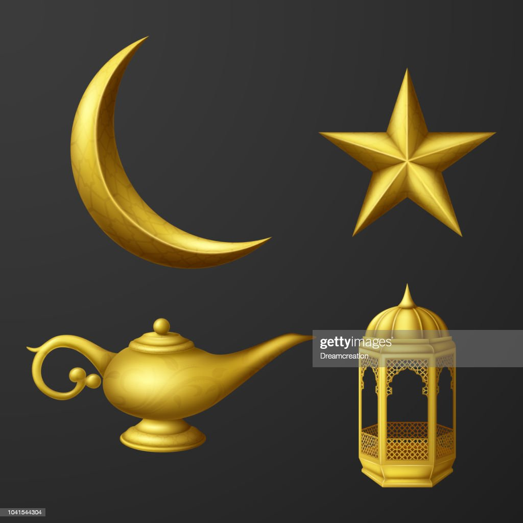Islamic culture icons collection set