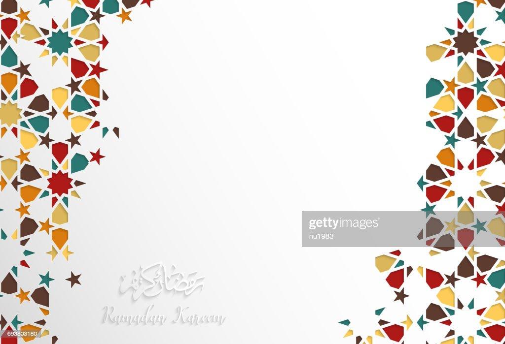 Islamic design greeting card template for Ramadan Kareem with colorful Arabric pattern