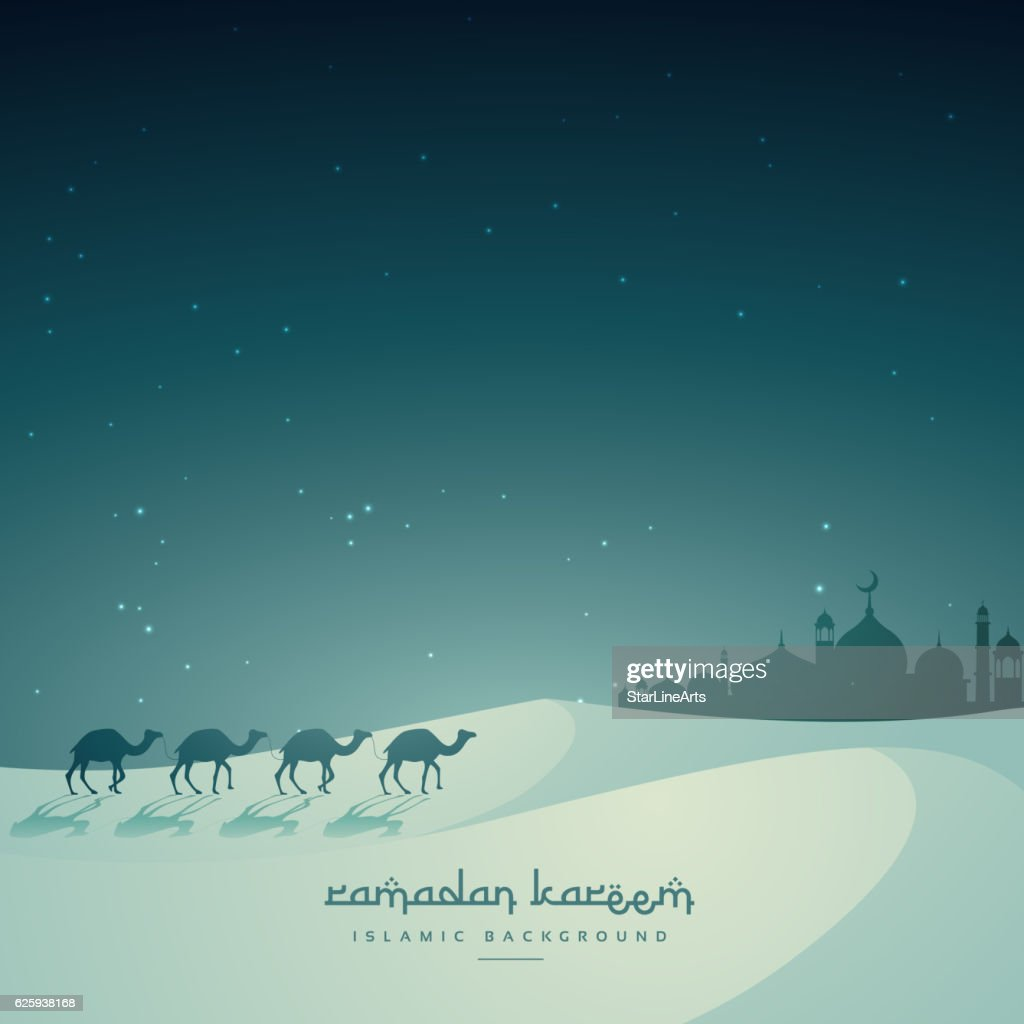 islamic festival eid background with camel and masjid