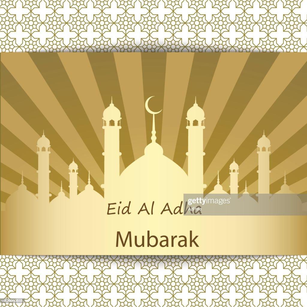 Islamic Festival of Sacrifice, Eid Al Adha Mubarak Greeting Card. Vector background.