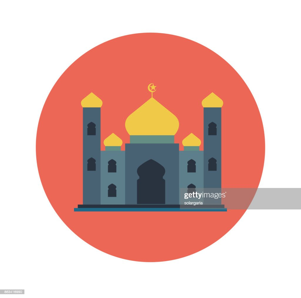 Islamic Flat Icon, Mosque icon-Vector Flat Design