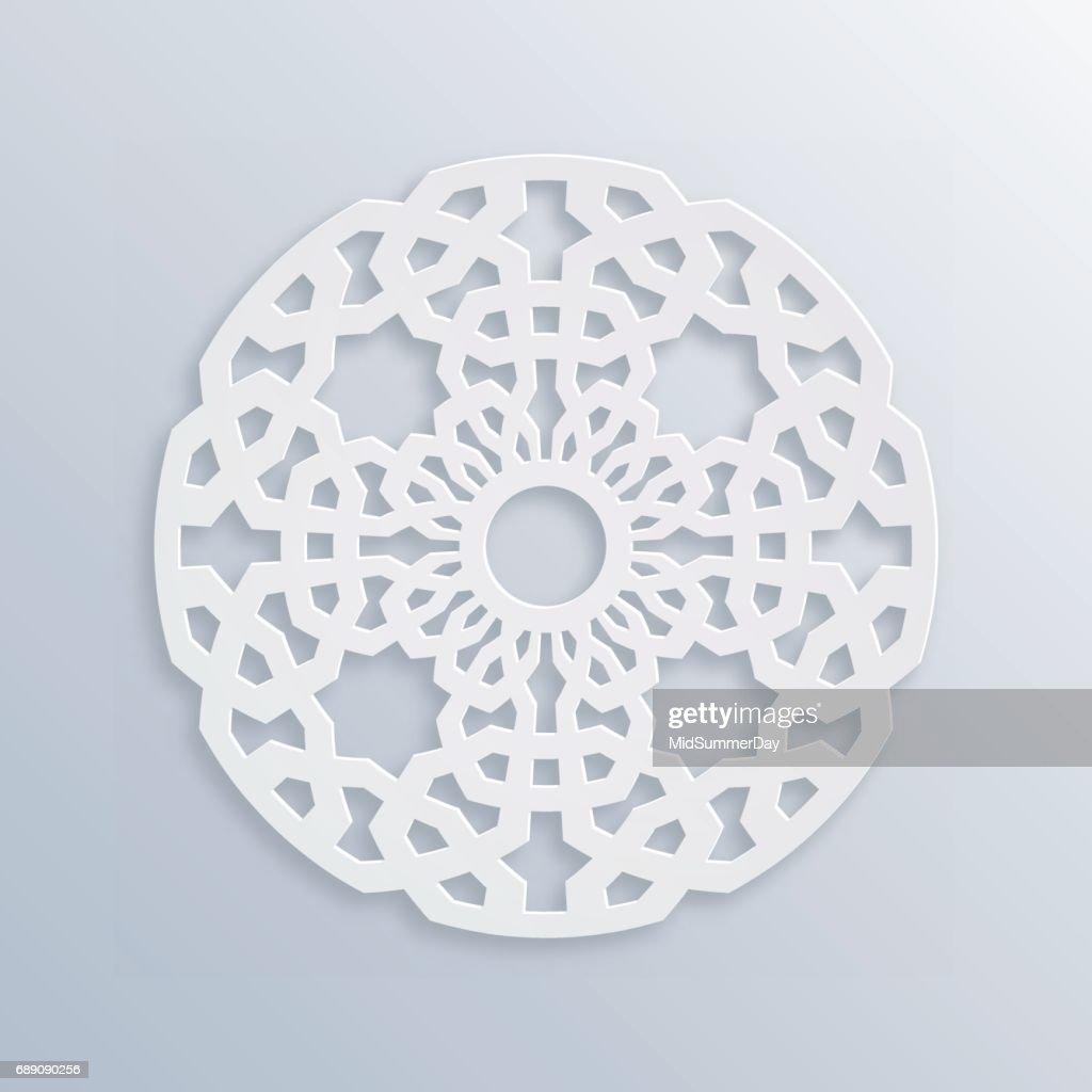 Islamic geometric pattern. Sacred geometry. Vector muslim mosaic, persian motif. Elegant white oriental ornament, traditional arabic art. Mosque decoration element. 3D illustration for greeting cards.