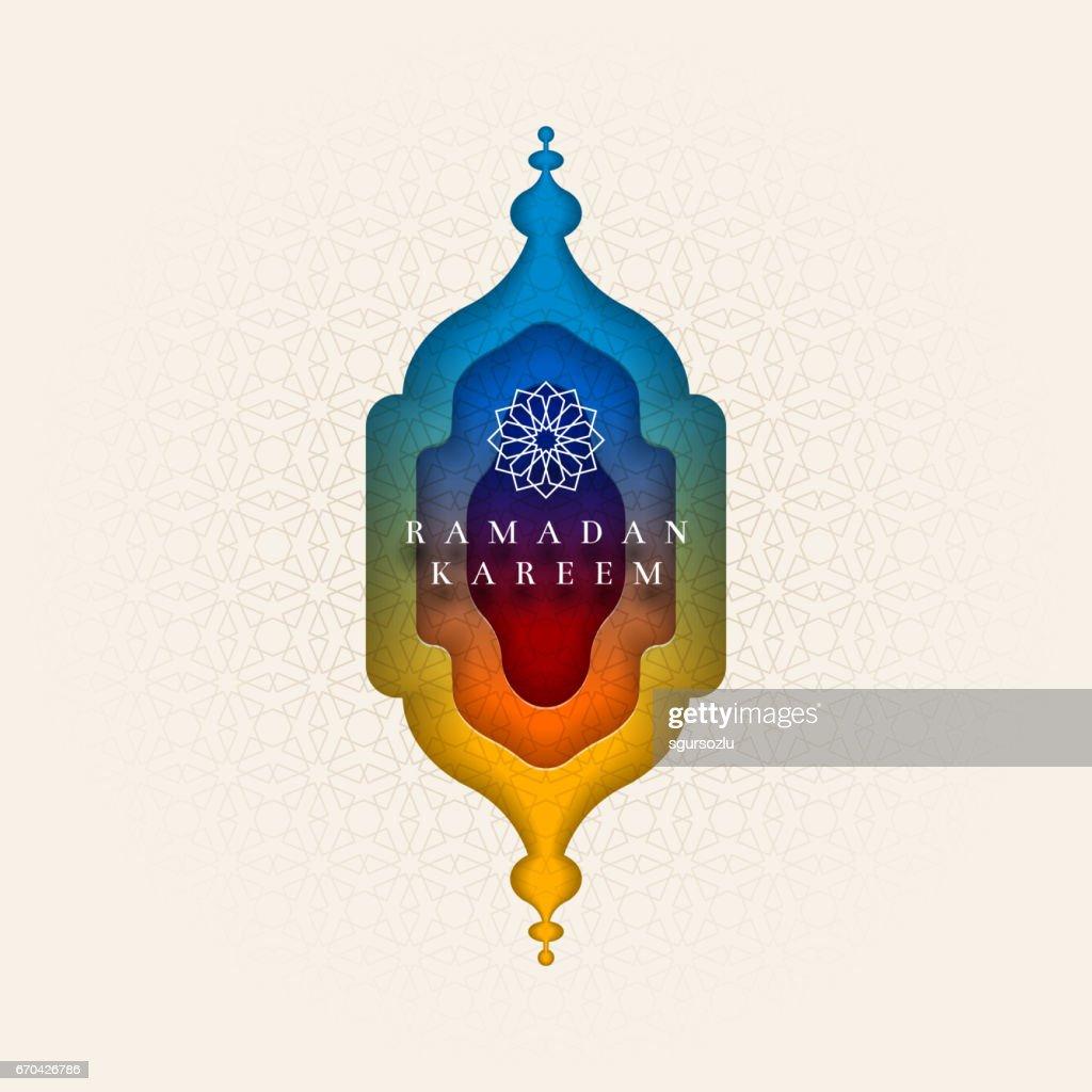 Islamic greeting card design for Ramadan.