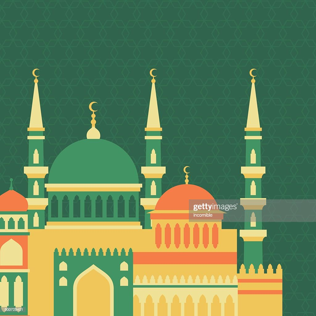 Islamic greeting card with mosque in flat design style.