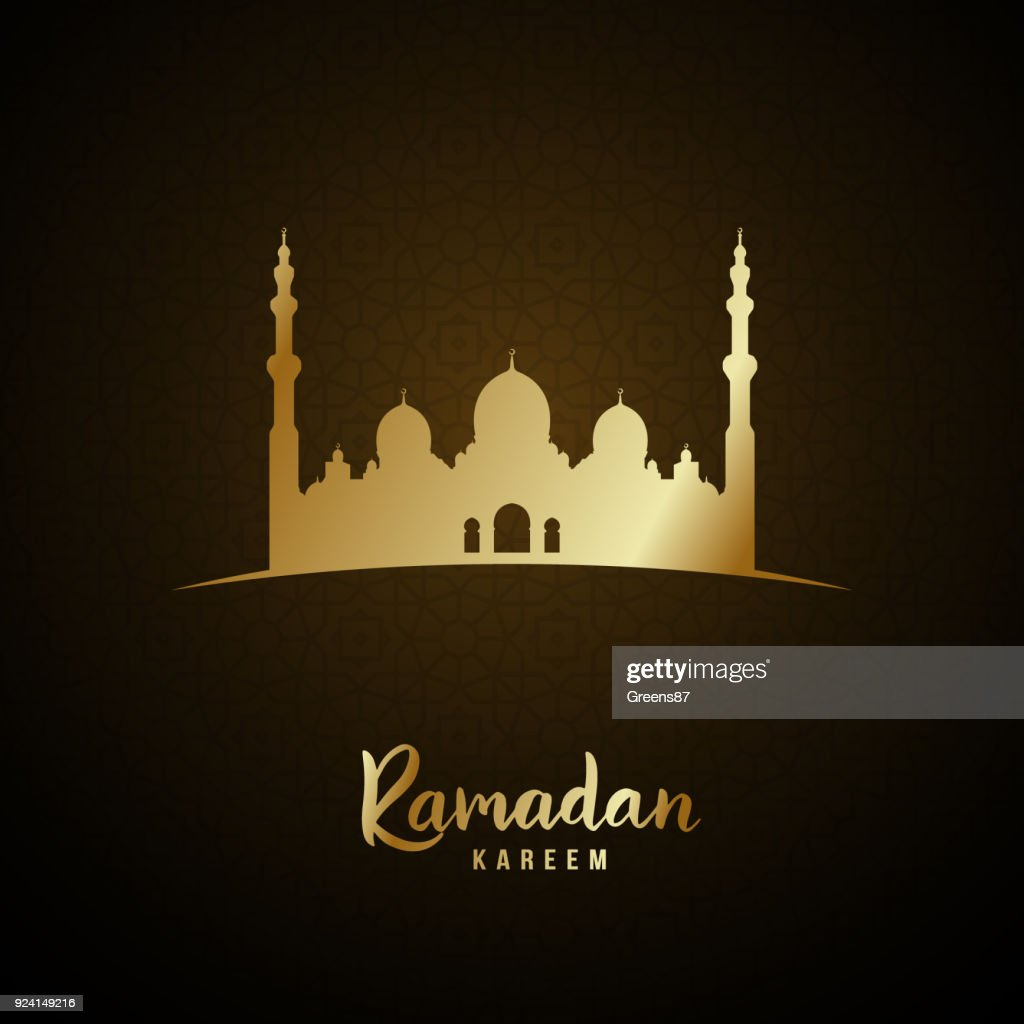 Islamic mosque and arabic pattern gold glow for Ramadan Kareem. Vector illustration.