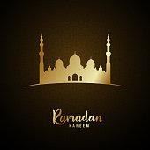 Islamic mosque and arabic pattern gold glow for Ramadan Kareem. Vector illustration.
