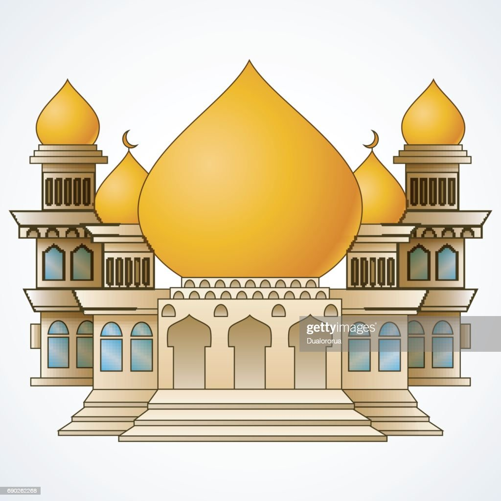 Islamic mosque building with yellow dome and four tower isolated on white background