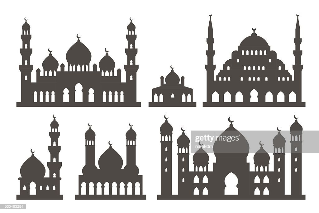 Islamic mosque silhouette set