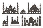 Islamic mosque silhouette set