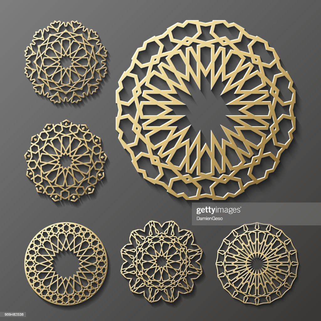 Islamic ornament vector , persian motiff . 3d ramadan  round pattern elements . Geometric logo template set. Circular ornamental arabic symbol
