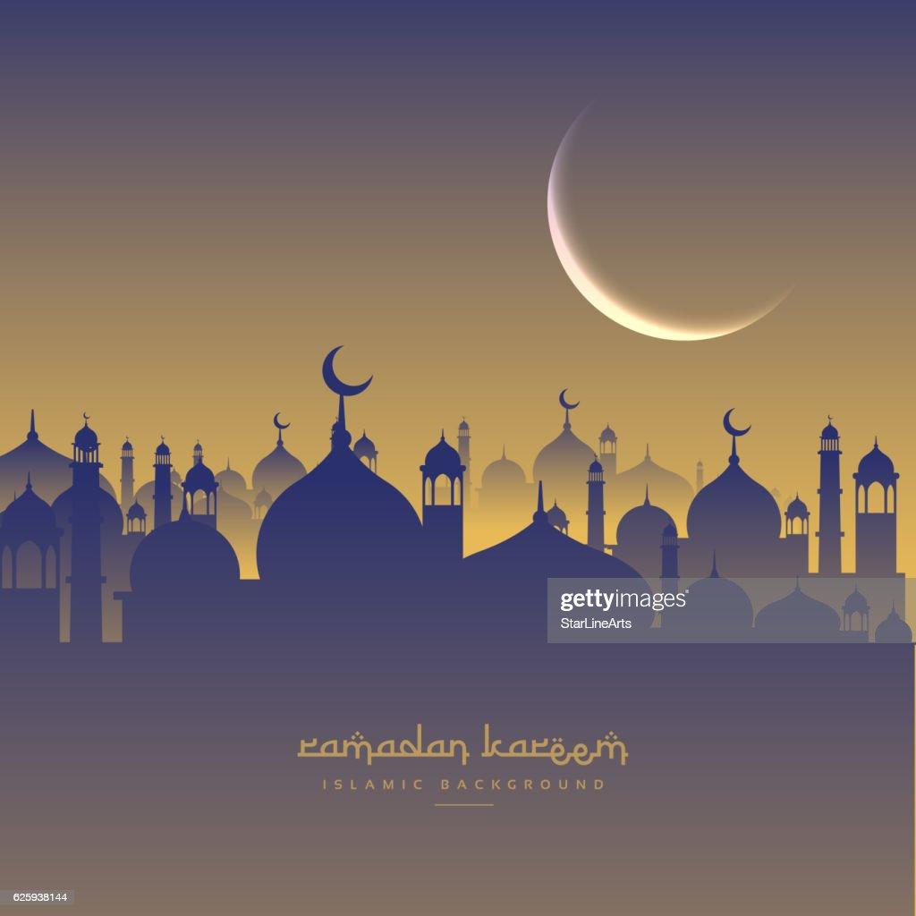 islamic  ramadan festival with moon and masjid