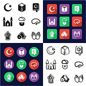 Islamic Religion All in One Icons Black & White Color Flat Design Freehand Set