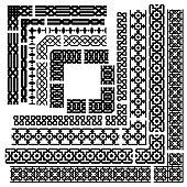 Islamic seamles vector line border set