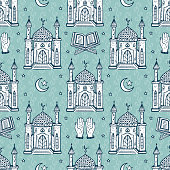 Islamic Symbol background. Arabic Seamless Pattern. Crescent Moon with Star, Mosque, Koran, Hands. Ramadan Kareem