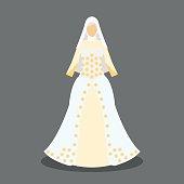 islamic wedding dress for the muslim bride in modern styles. vector illustration