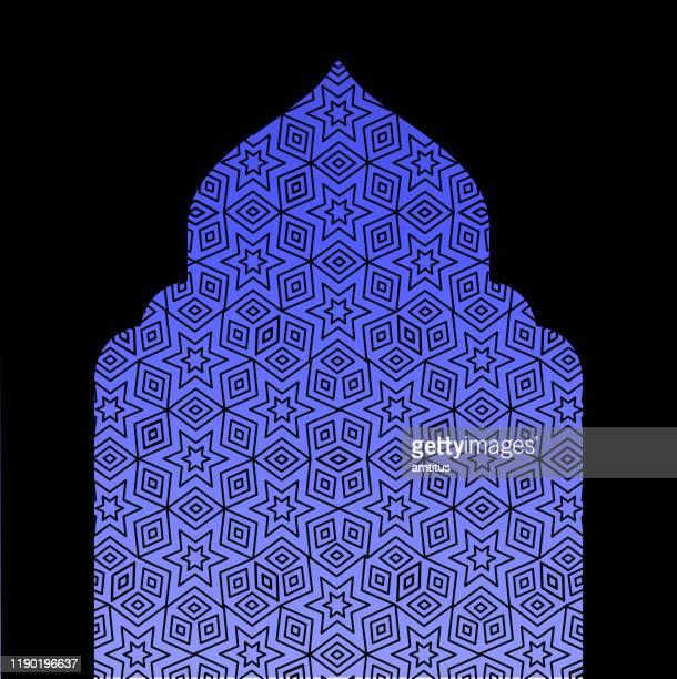 islamic window - eid ul fitr stock illustrations