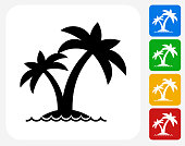 Island and Palms Icon Flat Graphic Design